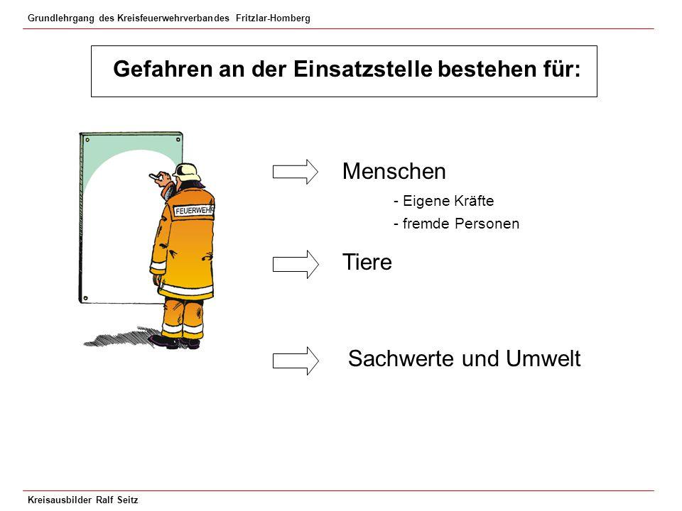 Grundlehrgang des Kreisfeuerwehrverbandes Fritzlar-Homberg Kreisausbilder Ralf Seitz Gefährdung durch einstürzende Giebelwände: Merke !.