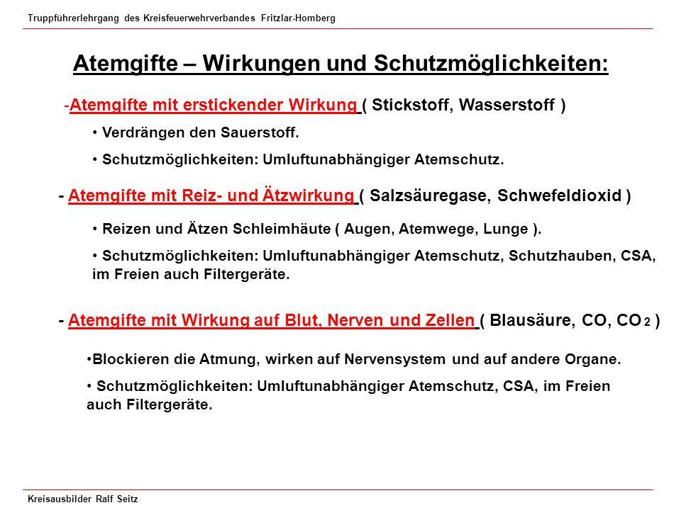 Truppführerlehrgang des Kreisfeuerwehrverbandes Fritzlar-Homberg Kreisausbilder Ralf Seitz Atemgifte – Wirkungen und Schutzmöglichkeiten: -Atemgifte m