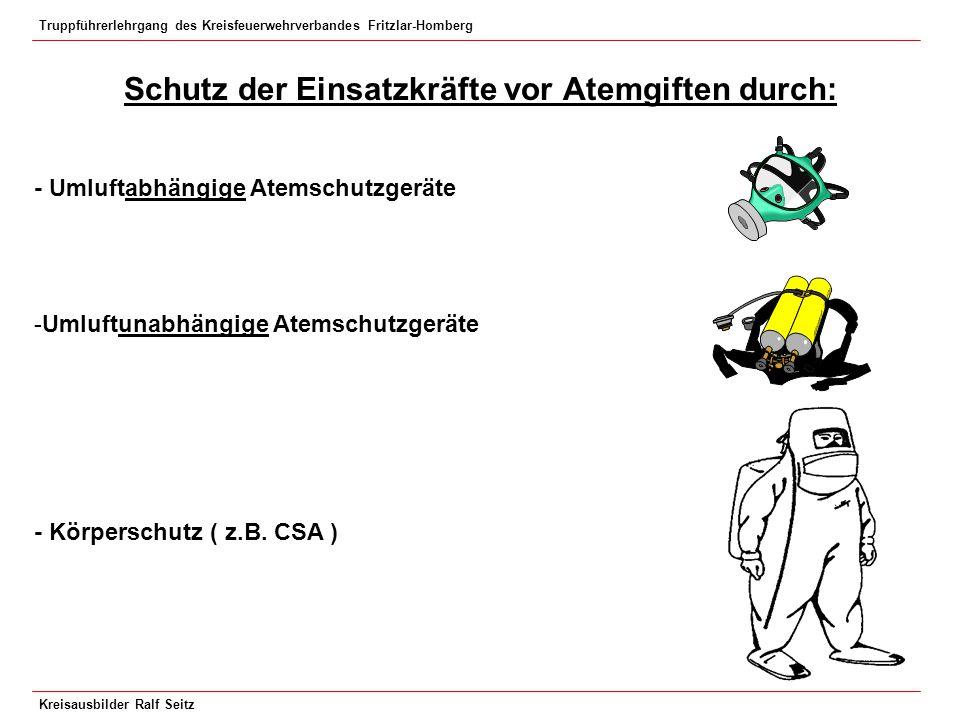 Truppführerlehrgang des Kreisfeuerwehrverbandes Fritzlar-Homberg Kreisausbilder Ralf Seitz Schutz der Einsatzkräfte vor Atemgiften durch: - Umluftabhä