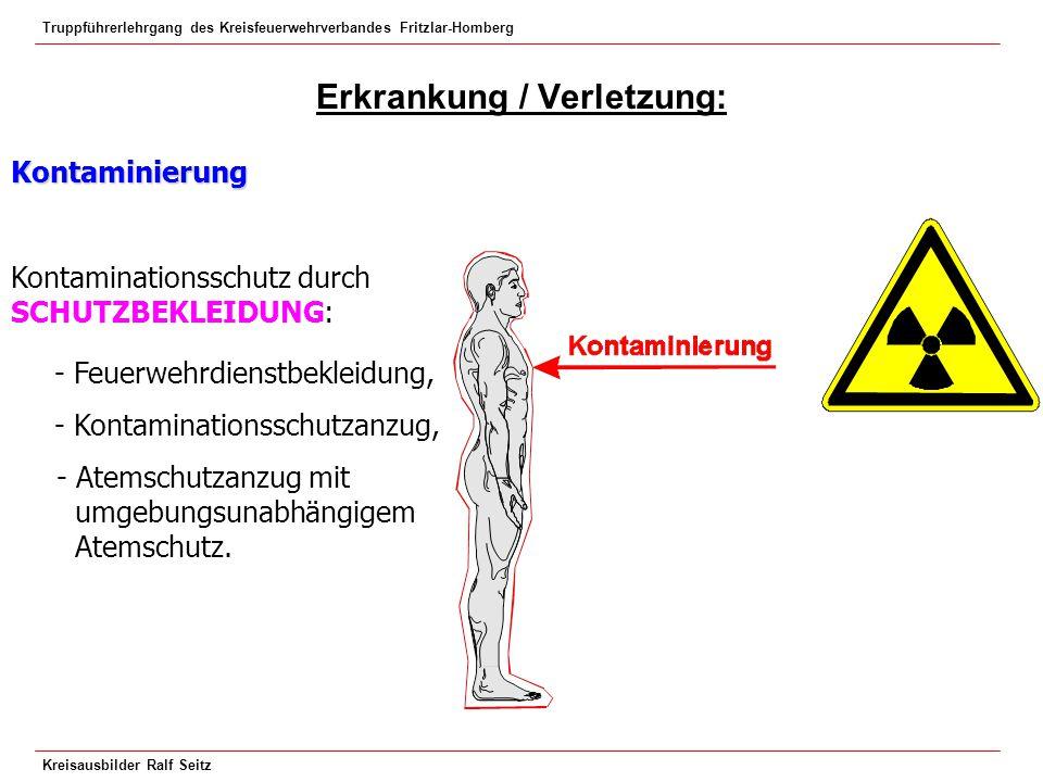Truppführerlehrgang des Kreisfeuerwehrverbandes Fritzlar-Homberg Kreisausbilder Ralf Seitz Erkrankung / Verletzung: Kontaminierung Kontaminationsschut