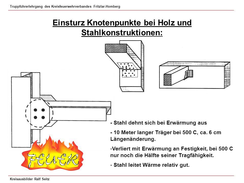 Truppführerlehrgang des Kreisfeuerwehrverbandes Fritzlar-Homberg Kreisausbilder Ralf Seitz Einsturz Knotenpunkte bei Holz und Stahlkonstruktionen: - S
