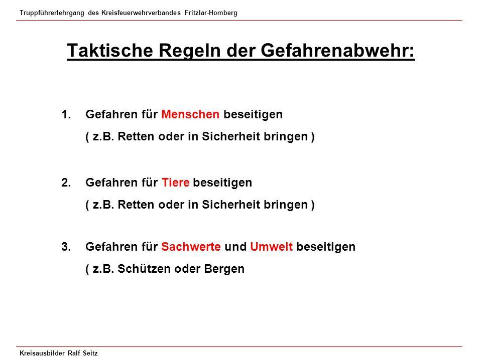 Truppführerlehrgang des Kreisfeuerwehrverbandes Fritzlar-Homberg Kreisausbilder Ralf Seitz Taktische Regeln der Gefahrenabwehr: 1.Gefahren für Mensche