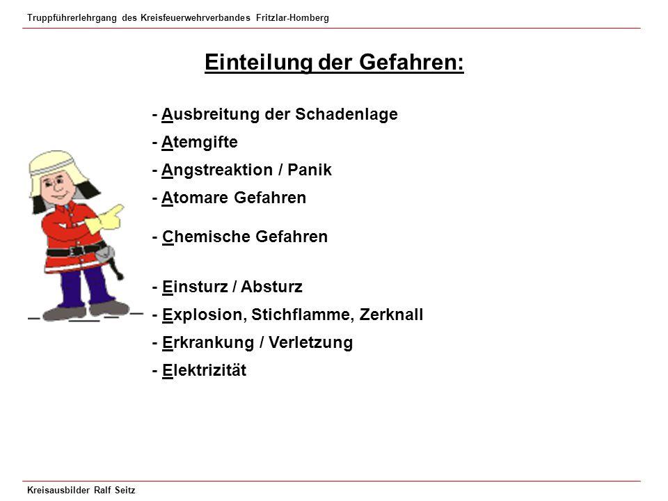 Truppführerlehrgang des Kreisfeuerwehrverbandes Fritzlar-Homberg Kreisausbilder Ralf Seitz Einteilung der Gefahren: - Ausbreitung der Schadenlage - At
