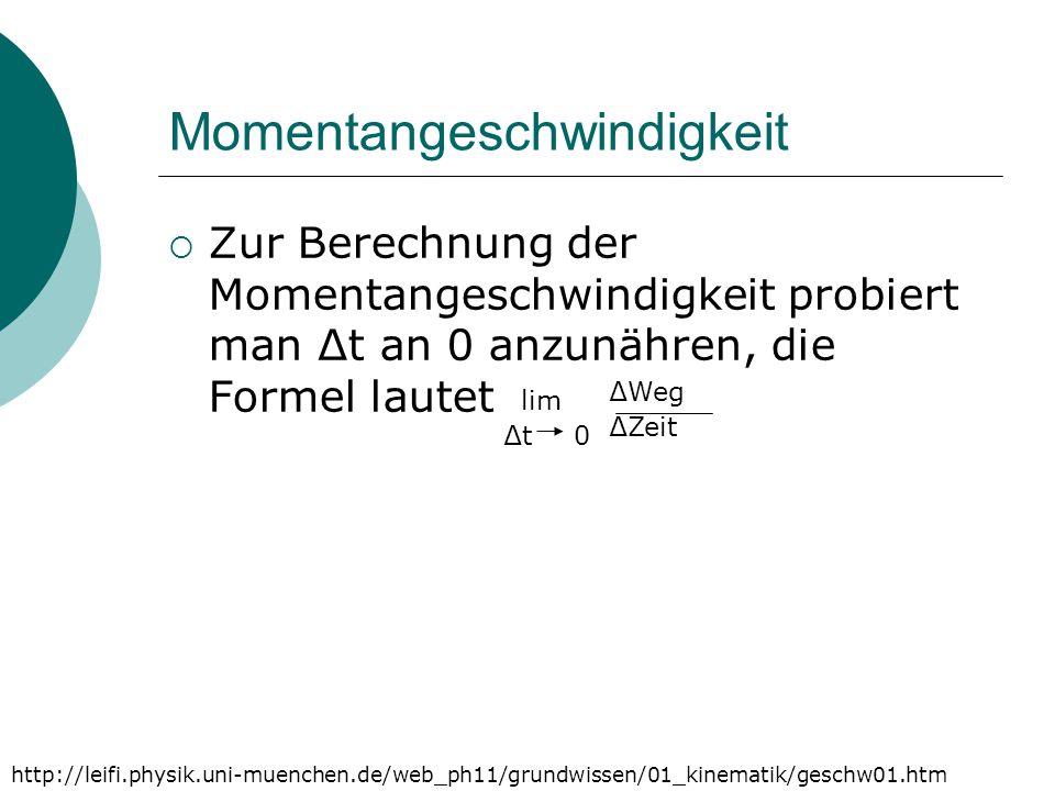 Momentangeschwindigkeit  Zur Berechnung der Momentangeschwindigkeit probiert man ∆t an 0 anzunähren, die Formel lautet http://leifi.physik.uni-muench