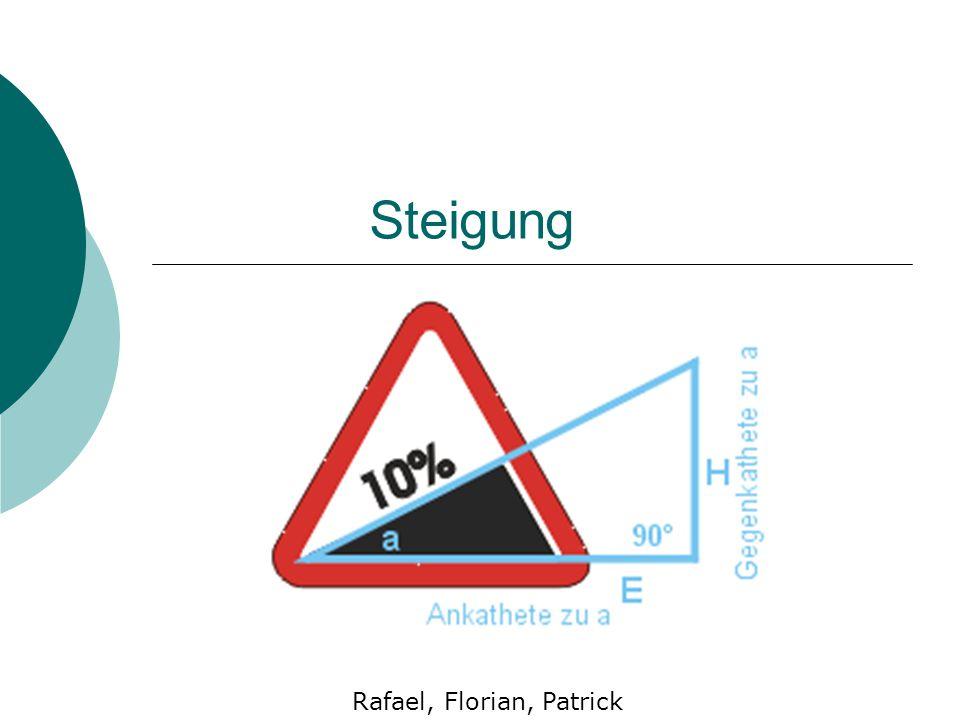 Steigung Rafael, Florian, Patrick