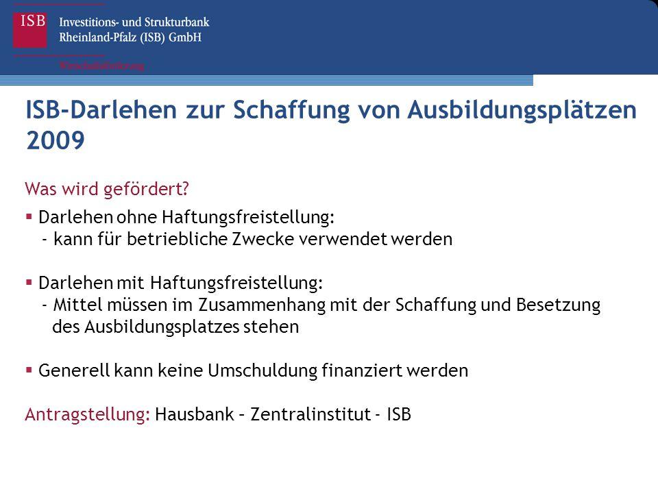 ISB-Darlehen zur Schaffung von Ausbildungsplätzen 2009 Was wird gefördert?  Darlehen ohne Haftungsfreistellung: - kann für betriebliche Zwecke verwen