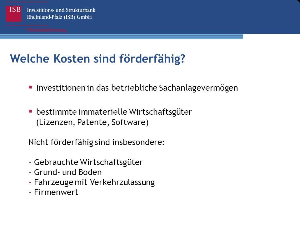 Welche Kosten sind förderfähig?  Investitionen in das betriebliche Sachanlagevermögen  bestimmte immaterielle Wirtschaftsgüter (Lizenzen, Patente, S