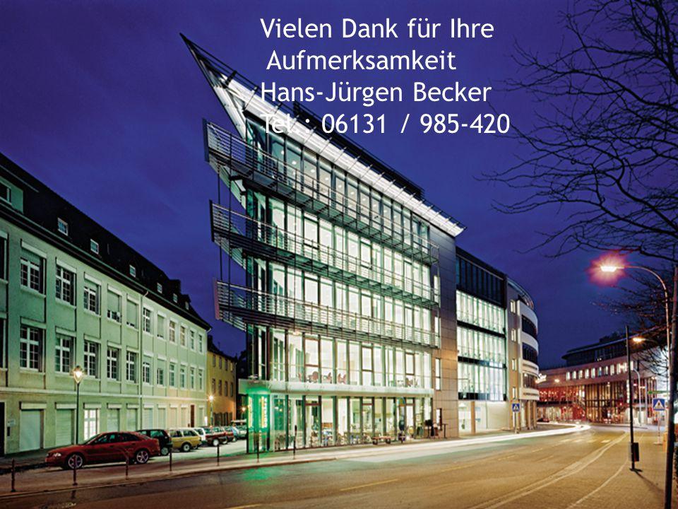 12 Vielen Dank für Ihre Aufmerksamkeit Hans-Jürgen Becker Tel.: 06131 / 985-420