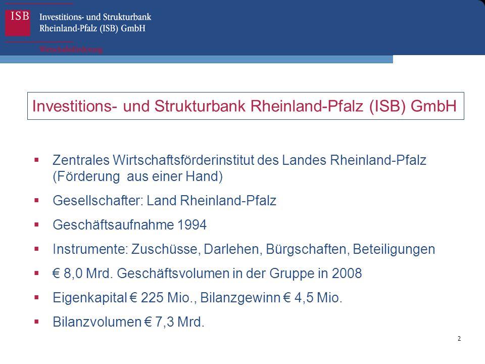 2 Investitions- und Strukturbank Rheinland-Pfalz (ISB) GmbH  Zentrales Wirtschaftsförderinstitut des Landes Rheinland-Pfalz (Förderung aus einer Hand