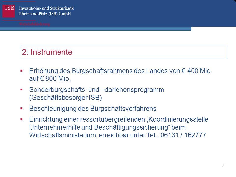 4 2. Instrumente  Erhöhung des Bürgschaftsrahmens des Landes von € 400 Mio. auf € 800 Mio.  Sonderbürgschafts- und –darlehensprogramm (Geschäftsbeso