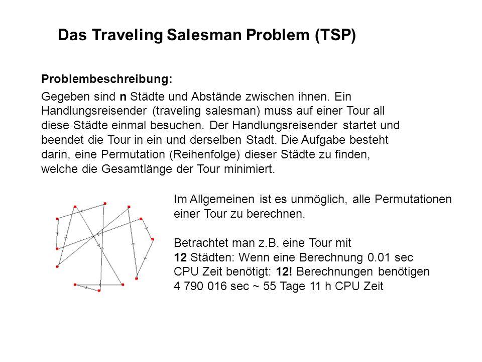 Das Traveling Salesman Problem (TSP) Problembeschreibung: Gegeben sind n Städte und Abstände zwischen ihnen. Ein Handlungsreisender (traveling salesma