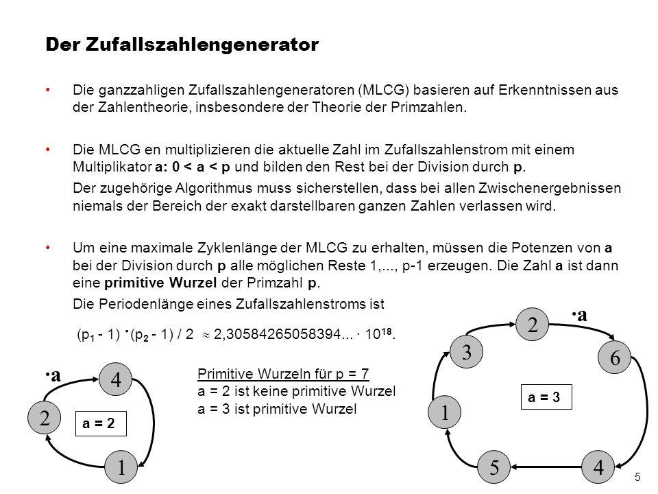 6 Kombination von zwei Zufallszahlengeneratoren Gründe für die Kombination zweier ganzzahligen Zufallszahlengeneratoren und der Spektraltest p 1 = 17 a = 14 p 2 = 19 a = 10 MLCG 1 MLCG 2 Differenz- bildung Ein Punkt entspricht einem Paar aufeinanderfolgender Zufallszahlen.