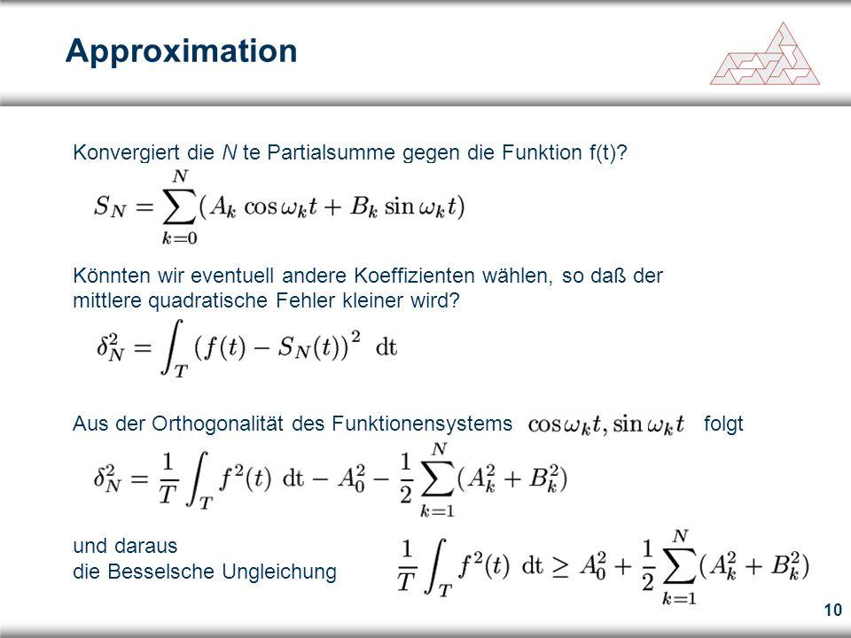 10 Approximation Konvergiert die N te Partialsumme gegen die Funktion f(t)? Könnten wir eventuell andere Koeffizienten wählen, so daß der mittlere qua