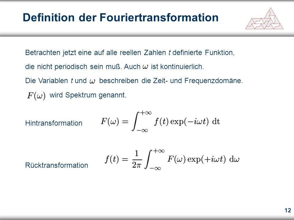 12 Definition der Fouriertransformation Betrachten jetzt eine auf alle reellen Zahlen t definierte Funktion, die nicht periodisch sein muß. Auch ist k