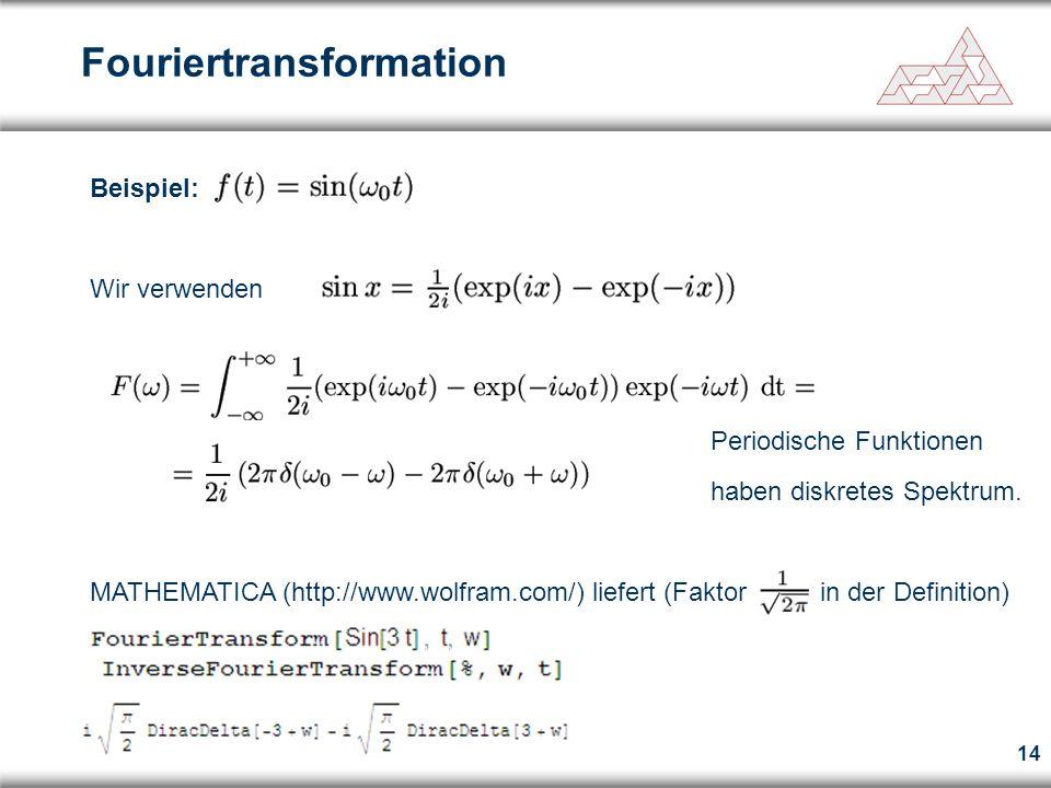 14 Fouriertransformation Beispiel: Wir verwenden Periodische Funktionen haben diskretes Spektrum. MATHEMATICA (http://www.wolfram.com/) liefert (Fakto