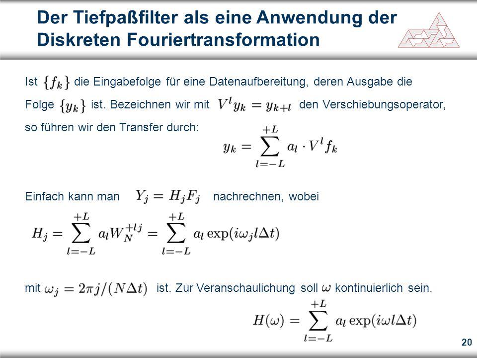 20 Der Tiefpaßfilter als eine Anwendung der Diskreten Fouriertransformation Ist die Eingabefolge für eine Datenaufbereitung, deren Ausgabe die Folge i
