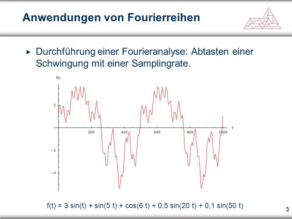 4 Anwendungen von Fourierreihen f(t) = 3 sin(t) + sin(5 t) + cos(6 t)  Durchführung einer Fourieranalyse: Herausfiltern hochfrequenter Anteile, die durch Störungen hervorgerufen wurden.