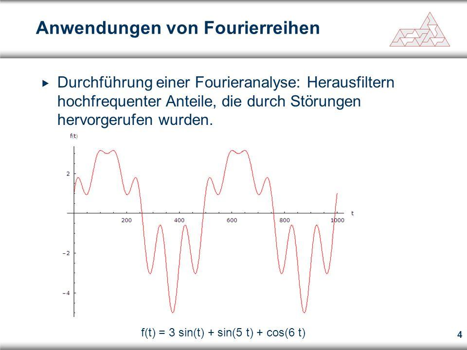 4 Anwendungen von Fourierreihen f(t) = 3 sin(t) + sin(5 t) + cos(6 t)  Durchführung einer Fourieranalyse: Herausfiltern hochfrequenter Anteile, die d