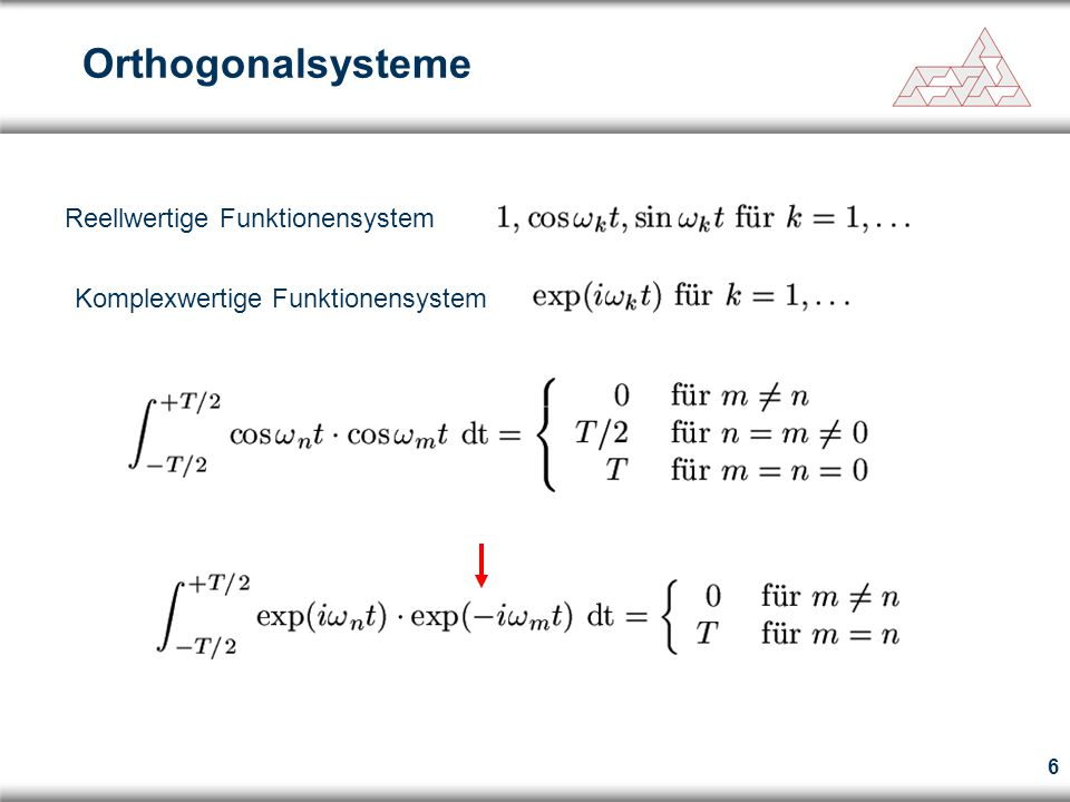 7 Wir multiplizieren mit und integrieren von –T/2 bis +T/2 Berechnung der Fourierkoeffizienten