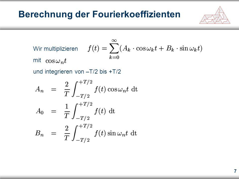 8 Wir multiplizieren mit und integrieren von –T/2 bis +T/2