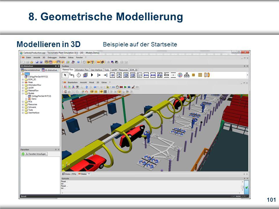 101 Beispiele auf der Startseite 8. Geometrische Modellierung Modellieren in 3D