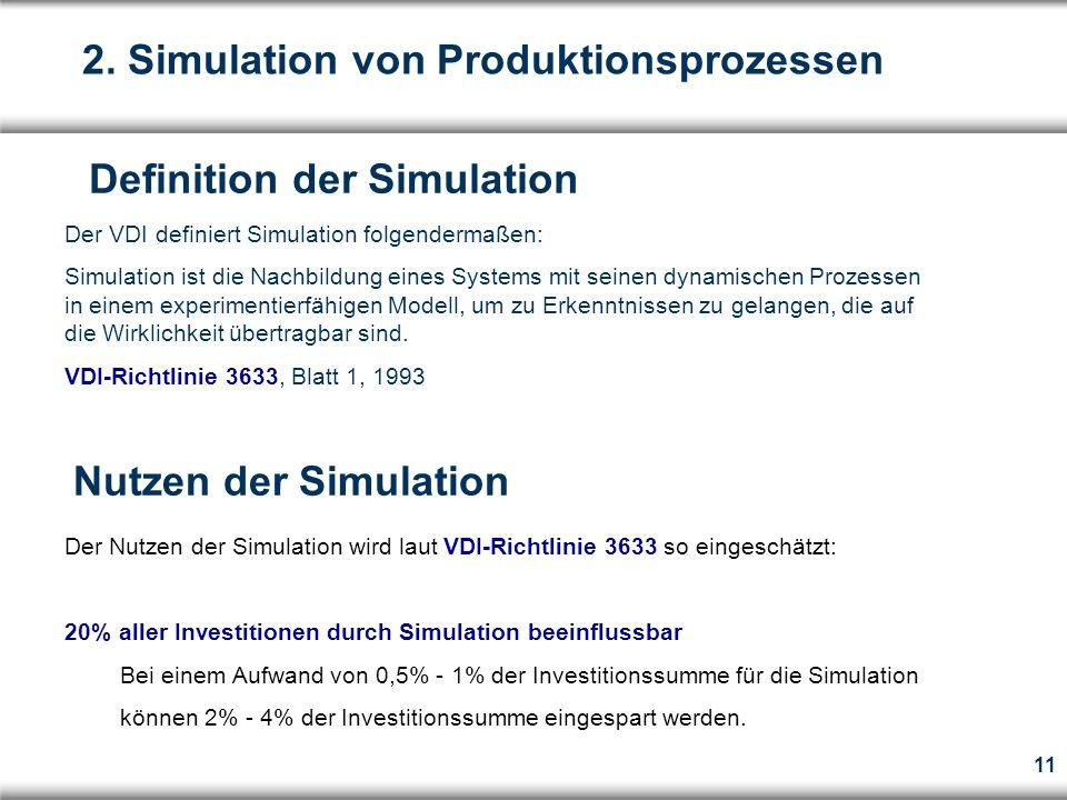11 Der VDI definiert Simulation folgendermaßen: Simulation ist die Nachbildung eines Systems mit seinen dynamischen Prozessen in einem experimentierfähigen Modell, um zu Erkenntnissen zu gelangen, die auf die Wirklichkeit übertragbar sind.