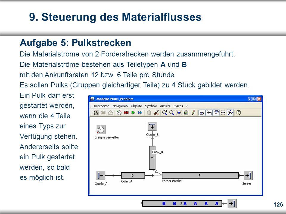 126 Aufgabe 5: Pulkstrecken Die Materialströme von 2 Förderstrecken werden zusammengeführt.