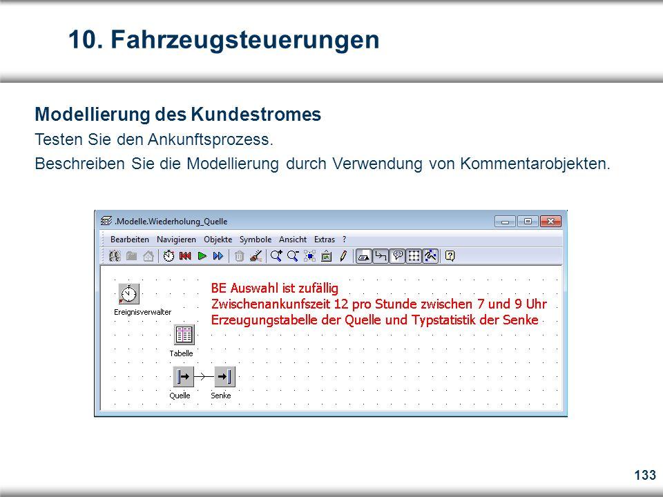 133 Modellierung des Kundestromes Testen Sie den Ankunftsprozess.