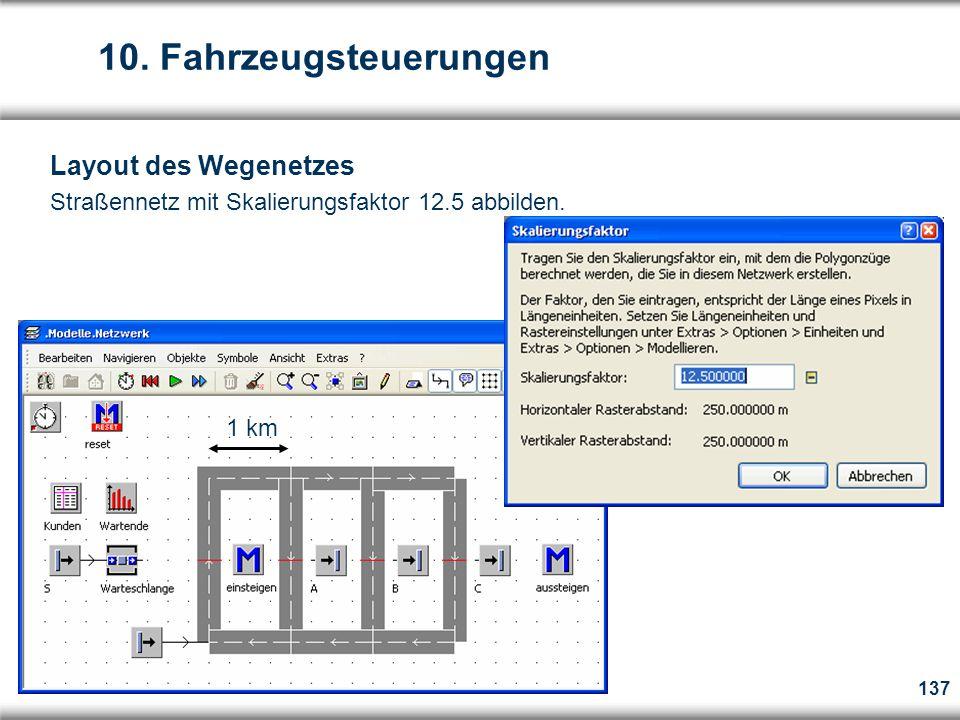 137 Layout des Wegenetzes Straßennetz mit Skalierungsfaktor 12.5 abbilden.