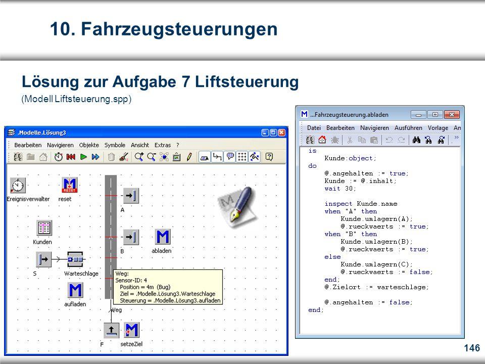 146 Lösung zur Aufgabe 7 Liftsteuerung (Modell Liftsteuerung.spp) 10. Fahrzeugsteuerungen