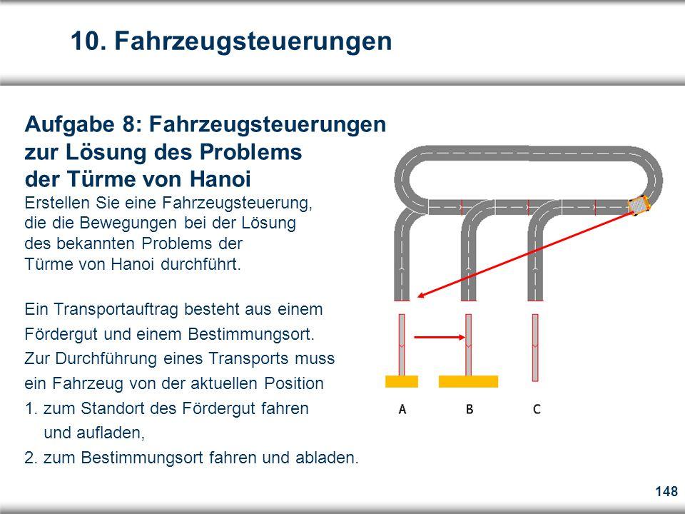 148 Aufgabe 8: Fahrzeugsteuerungen zur Lösung des Problems der Türme von Hanoi Erstellen Sie eine Fahrzeugsteuerung, die die Bewegungen bei der Lösung des bekannten Problems der Türme von Hanoi durchführt.