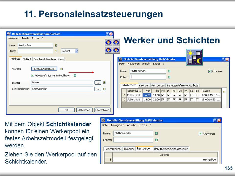 165 Werker und Schichten Mit dem Objekt Schichtkalender können für einen Werkerpool ein festes Arbeitszeitmodell festgelegt werden.