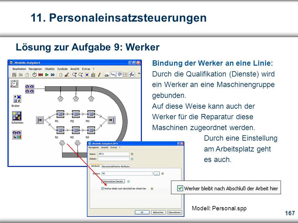 167 Bindung der Werker an eine Linie: Durch die Qualifikation (Dienste) wird ein Werker an eine Maschinengruppe gebunden.