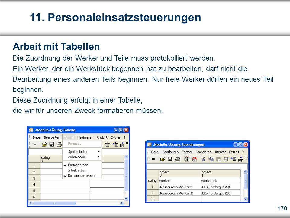170 Arbeit mit Tabellen Die Zuordnung der Werker und Teile muss protokolliert werden.