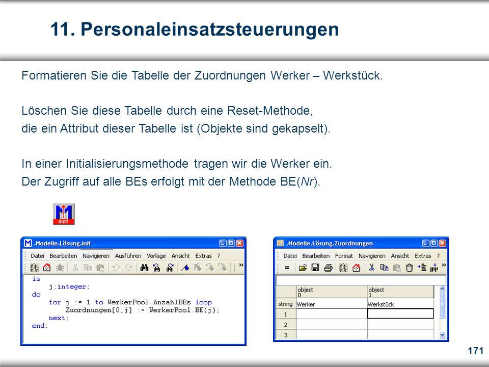 171 Formatieren Sie die Tabelle der Zuordnungen Werker – Werkstück.