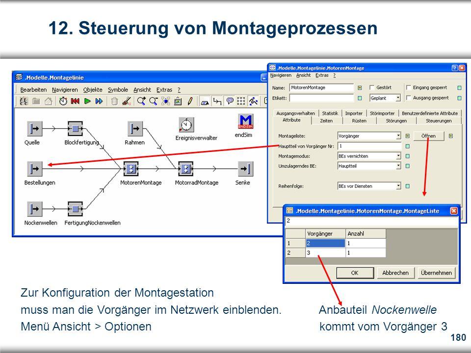 180 Zur Konfiguration der Montagestation muss man die Vorgänger im Netzwerk einblenden.