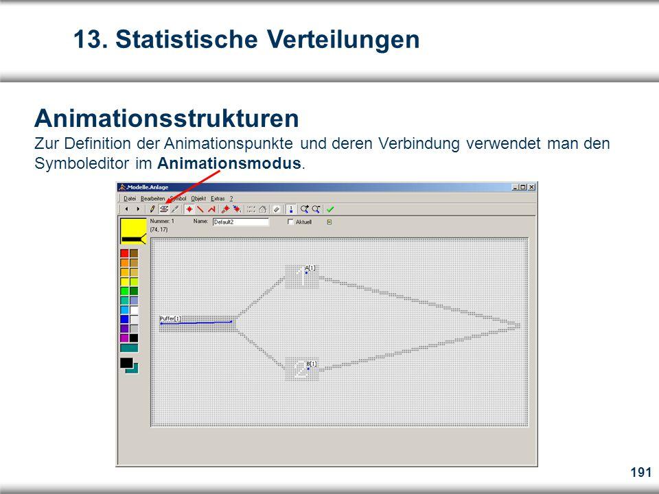 191 Animationsstrukturen Zur Definition der Animationspunkte und deren Verbindung verwendet man den Symboleditor im Animationsmodus.