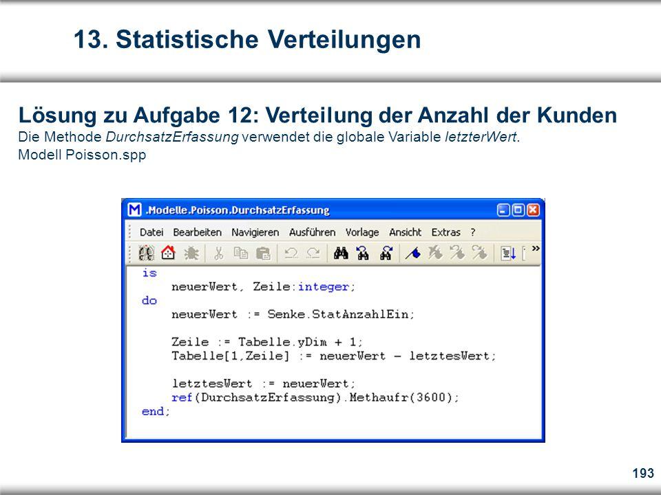 193 Lösung zu Aufgabe 12: Verteilung der Anzahl der Kunden Die Methode DurchsatzErfassung verwendet die globale Variable letzterWert.