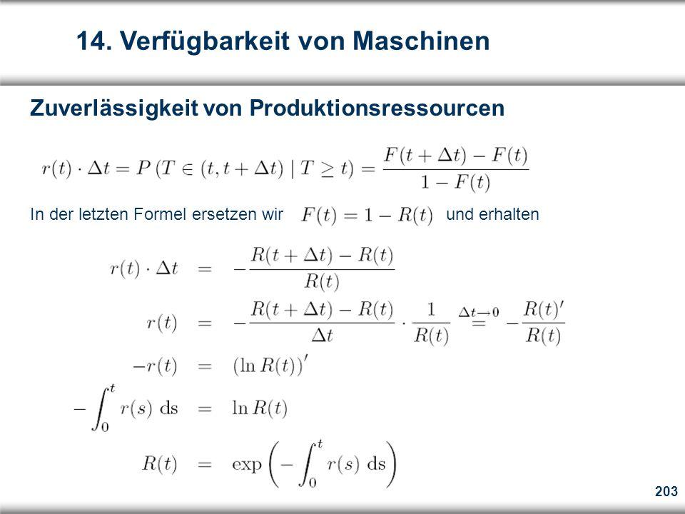 203 Zuverlässigkeit von Produktionsressourcen In der letzten Formel ersetzen wir und erhalten 14.