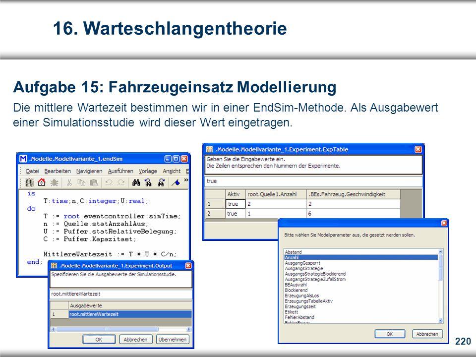 220 Aufgabe 15: Fahrzeugeinsatz Modellierung Die mittlere Wartezeit bestimmen wir in einer EndSim-Methode.