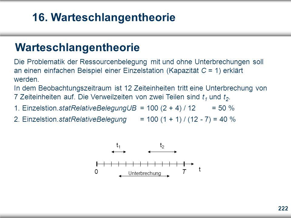 222 Warteschlangentheorie  Die Problematik der Ressourcenbelegung mit und ohne Unterbrechungen soll an einen einfachen Beispiel einer Einzelstation (Kapazität C = 1) erklärt werden.