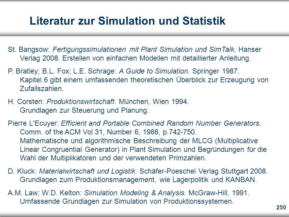 250 Literatur zur Simulation und Statistik St.