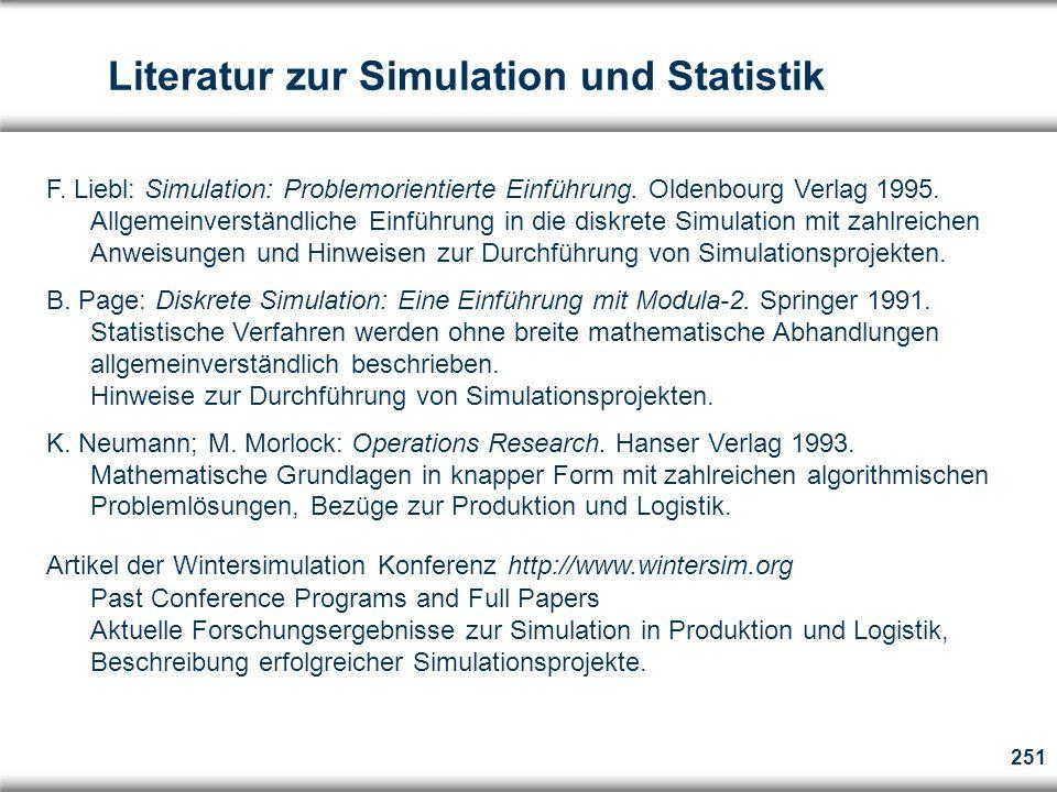251 Literatur zur Simulation und Statistik F.Liebl: Simulation: Problemorientierte Einführung.
