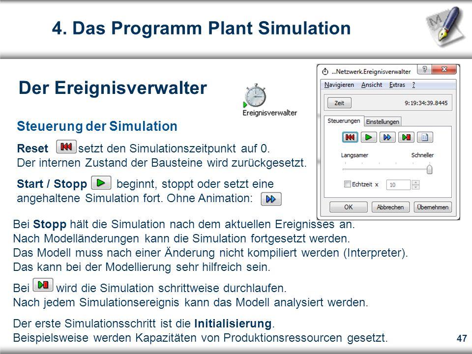 47 Steuerung der Simulation Reset setzt den Simulationszeitpunkt auf 0.