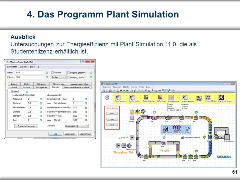 61 Ausblick Untersuchungen zur Energieeffizienz mit Plant Simulation 11.0, die als Studentenlizenz erhältlich ist.