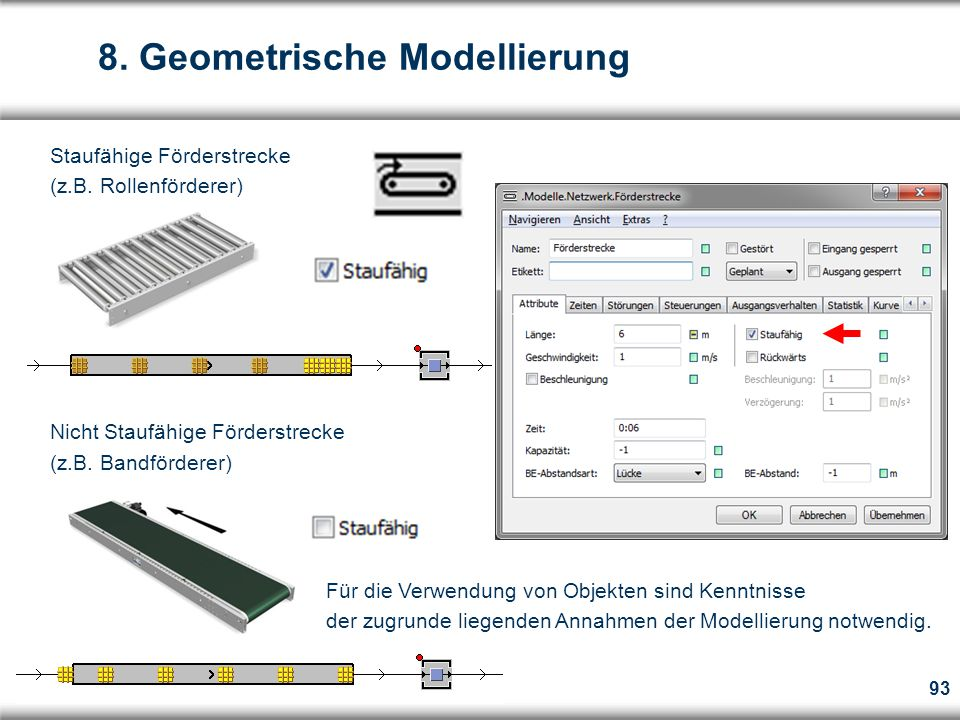 93 8.Geometrische Modellierung Staufähige Förderstrecke (z.B.