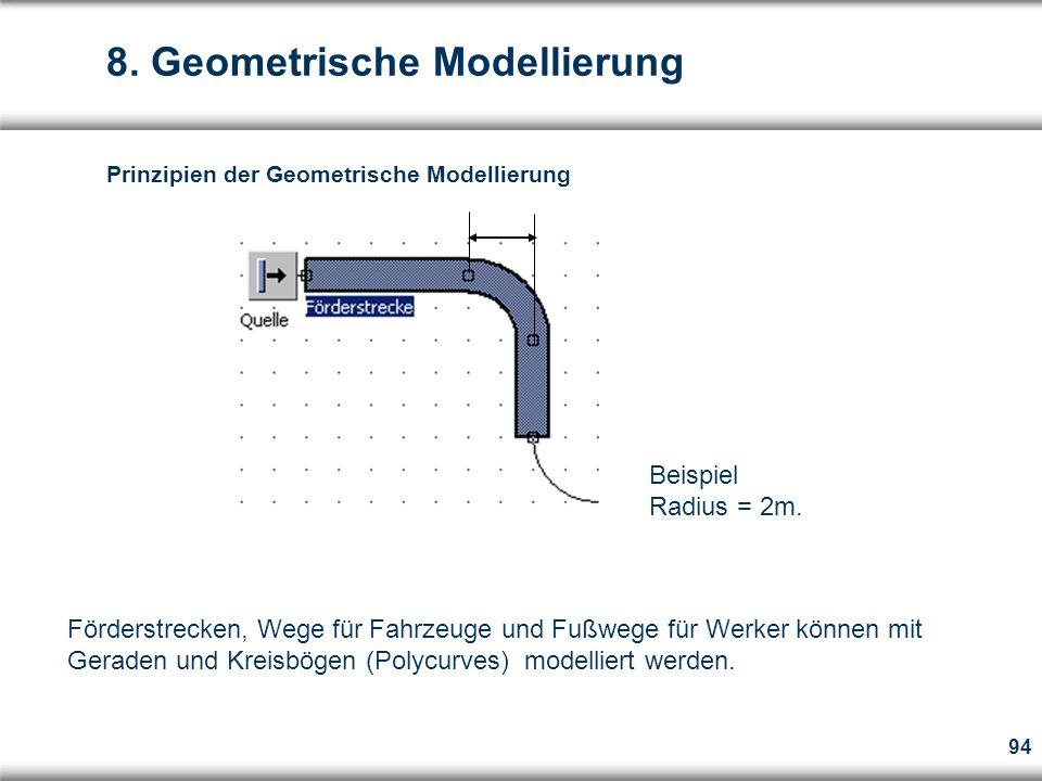 94  Förderstrecken, Wege für Fahrzeuge und Fußwege für Werker können mit Geraden und Kreisbögen (Polycurves) modelliert werden.