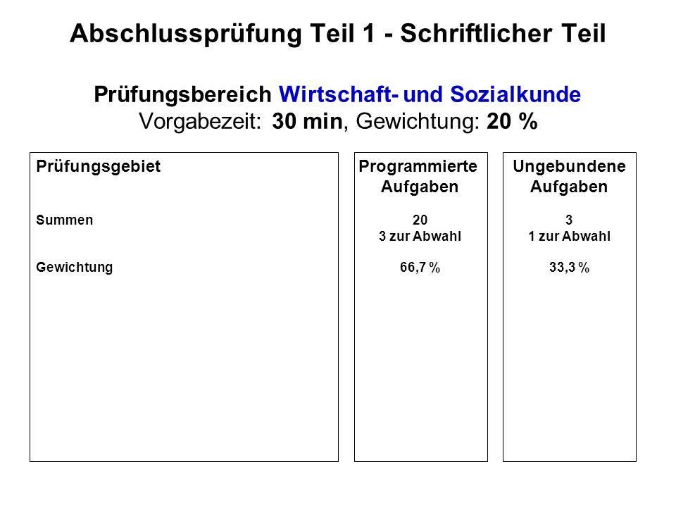 Abschlussprüfung Teil 2 - Schriftlicher Teil Prüfungsbereich Verfahrens- und Produktionstechnik Vorgabezeit: 120 min, Gewichtung: 40 %, Sperrfach!.