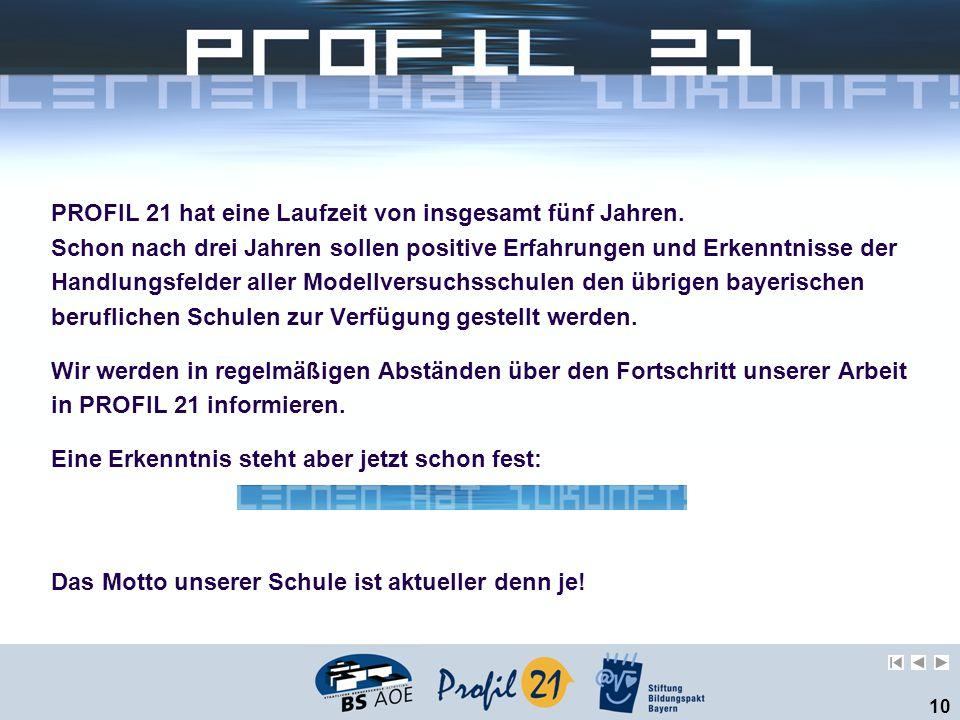 10 PROFIL 21 hat eine Laufzeit von insgesamt fünf Jahren. Schon nach drei Jahren sollen positive Erfahrungen und Erkenntnisse der Handlungsfelder alle