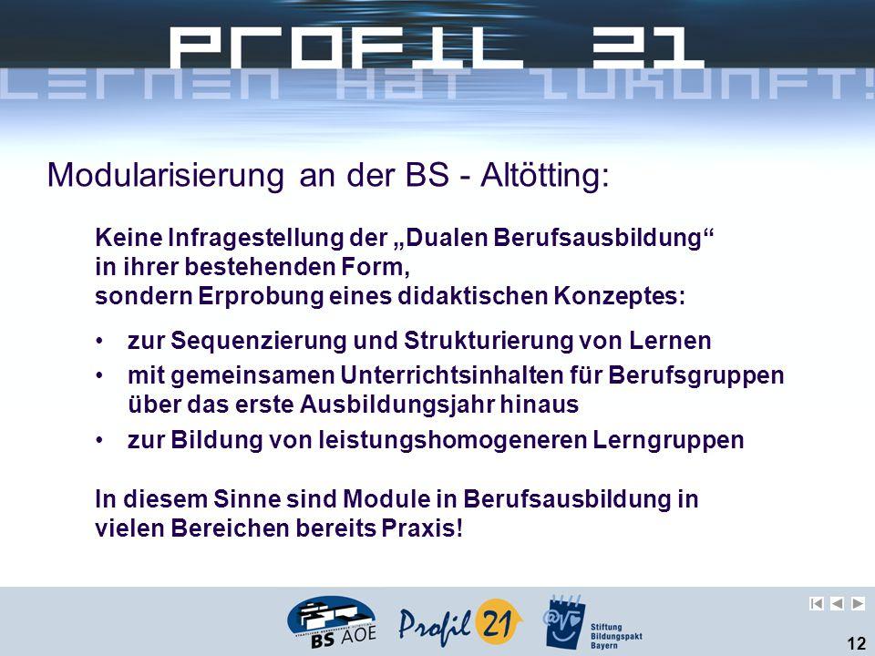 12 Modularisierung an der BS - Altötting: zur Sequenzierung und Strukturierung von Lernen mit gemeinsamen Unterrichtsinhalten für Berufsgruppen über d